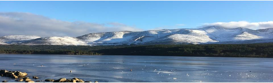 Frozen Loch Morlich, winter in Aviemore